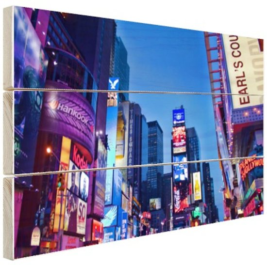 Times Square by night Hout 80x60 cm - Foto print op Hout (Wanddecoratie)