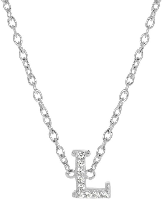 Lucardi - Zilveren ketting&hanger alfabet met zirkonia