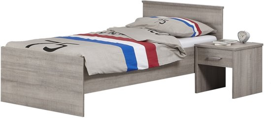 Beuk Bedframe 90X200 cm - Donker Grijs Hout - Bavel - incl