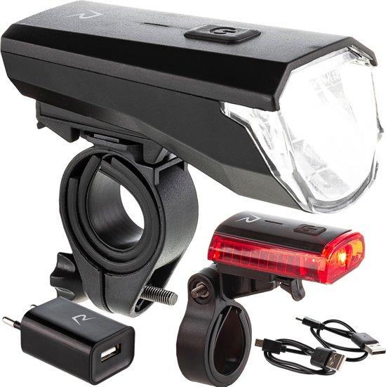 Fietsverlichting Set Rohtar – Oplaadbare USB Fietslamp met Adapter - LED Fietslicht met Accu Indicatie - Veilig de fiets op!