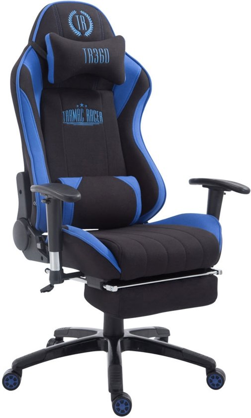 Clp XL Racing bureaustoel SHIFT - Gaming managerstoel Tarmac Racing met en zonder voetsteun, belastbaar tot 150 kg, stof - zwart/blauw, met voetsteun