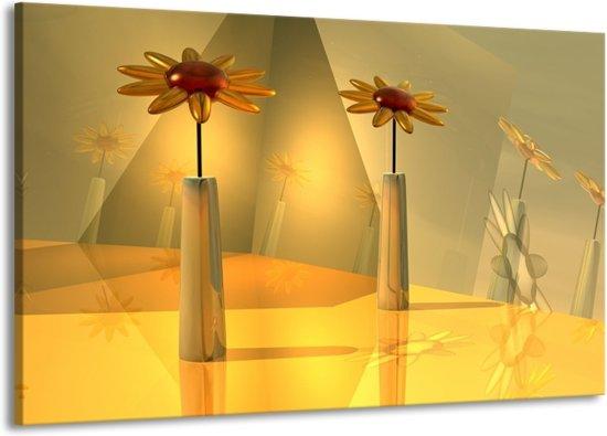 Canvas schilderij Bloem   Geel, Oranje   140x90cm 1Luik