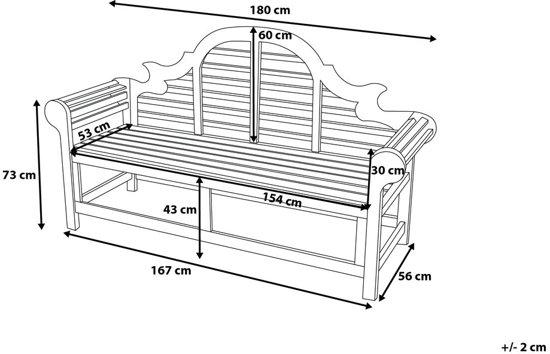 Beliani houten tuinbank - 180cm - TOSCANA Marlboro
