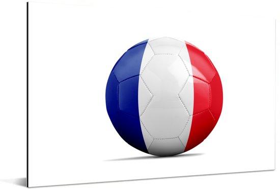 De Franse vlag op een voetbal Aluminium 60x40 cm - Foto print op Aluminium (metaal wanddecoratie)