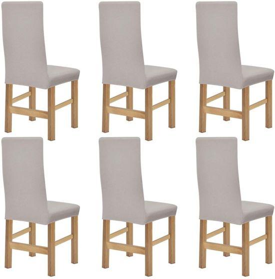 bol.com | vidaXL stoelhoezen stretch 6 st beige polyester ribstof