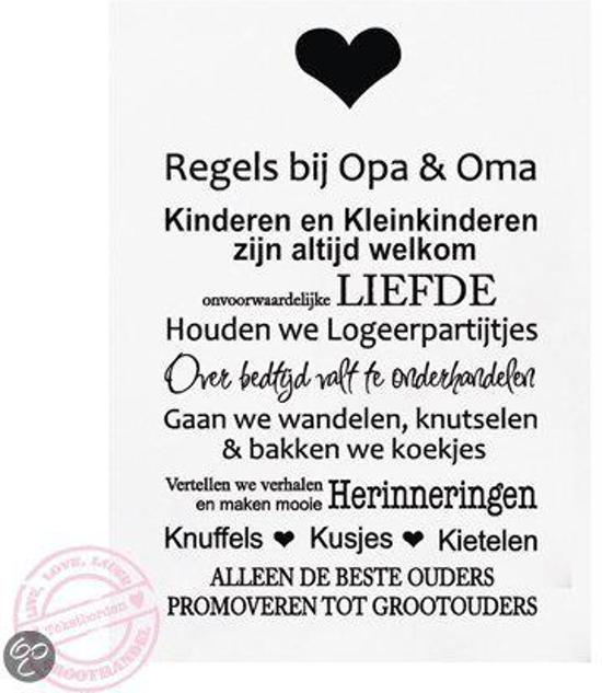 Tekstbord Regels Opa en Oma 30 x 40 cm wit zwart A195