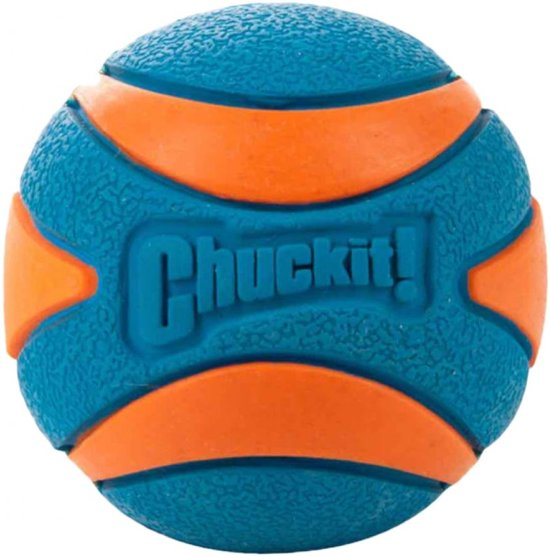 Chuckit! - Ultra Squeaker Ball - Medium - 6 cm - Oranje/blauw