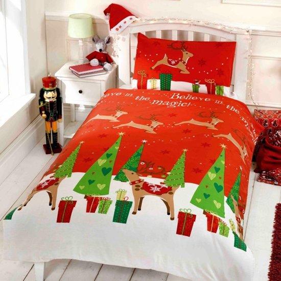 Kerst dekbedovertrek Believe in the magic - eenpersoons dekbedovertrek met 1 kussensloop