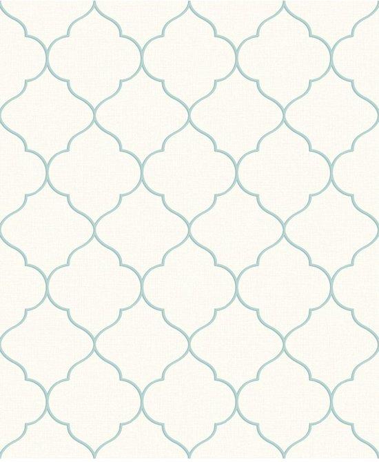 Nordic Elegance trellis wit/aqua behang (vliesbehang, blauw)