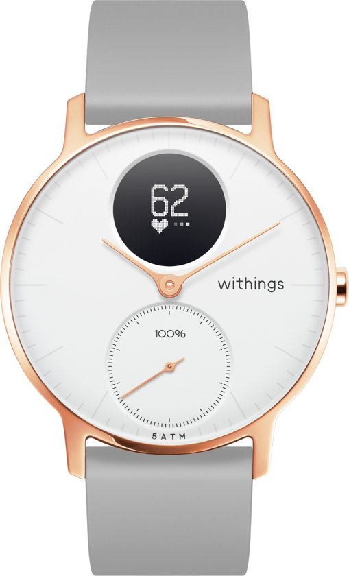 Nokia/Withings Steel HR Rosegold - Hybride Smartwatch - Siliconen bandje grijs - Ø 36mm