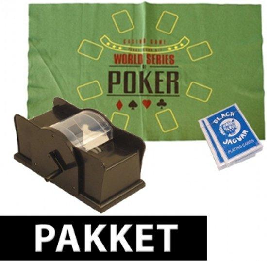 Afbeelding van het spel Poker speelmat, kaarten en schudmachine