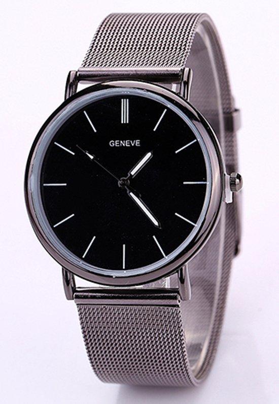| Trend horloge met zwarte wijzerplaat en mesh