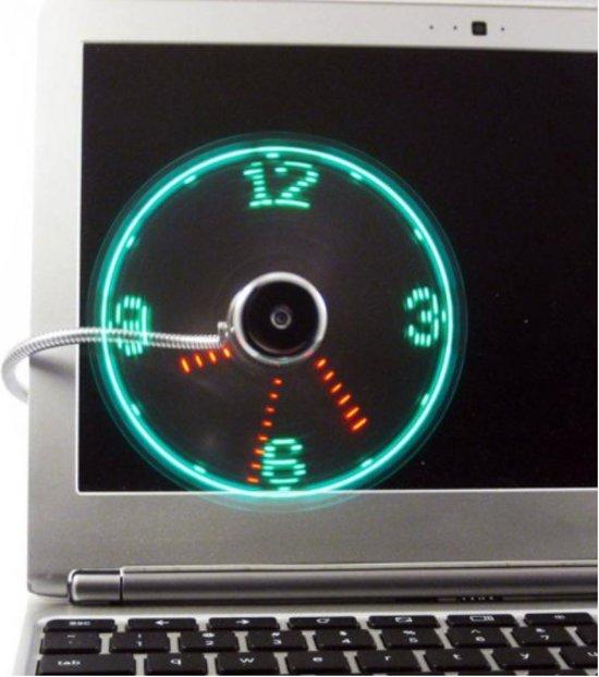 Flexibele USB ventilator - usb klok - led - klok - gadget - met usb aansluting - DisQounts in Houtave