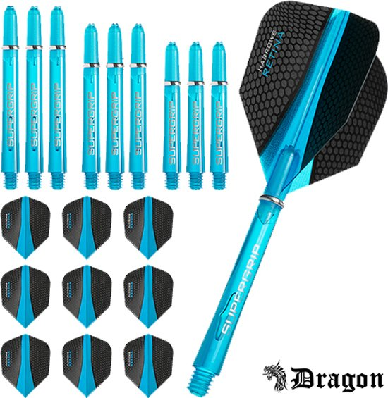 Dragon Darts – Harrows - Combi kit – Retina – 3 sets darts shafts – 3 sets darts flights - Aqua