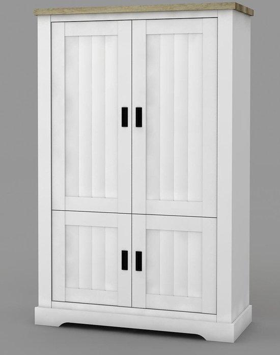 Opbergkast White Wash.Landelijke Opbergkast White Wash Coventry 118 Cm