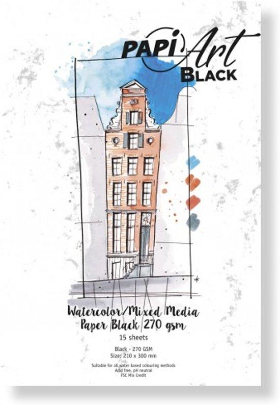 (Art.no. 363330) PapiArt 210x300 mm 270 grs. Black Aquarel/Mixed Media Black 63-90 15 vel