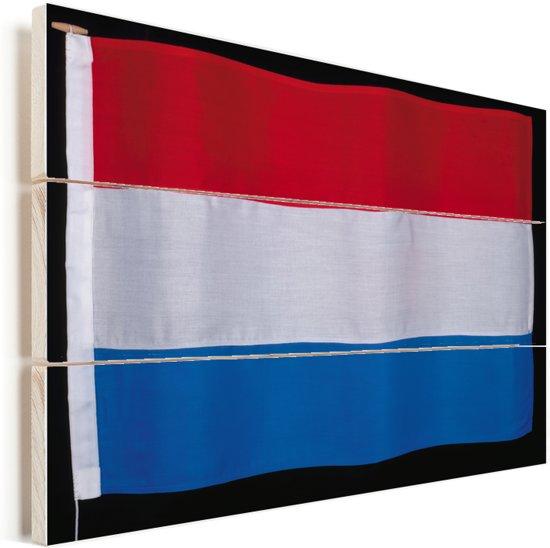 Close-up van de vlag van Luxemburg Vurenhout met planken 40x30 cm - klein - Foto print op Hout (Wanddecoratie)