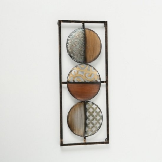 Wanddecoratie - Muurdecoratie - 69 x 28.5 cm - Bruin - Metaal - Zwart