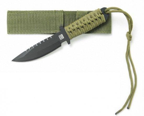 Survival mes groen met nylon hoes in Plakkebord