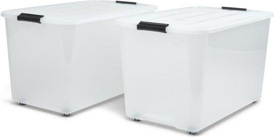 IRIS Topbox Opbergbox - 70L - Kunststof - Met Wielen - 2 stuks