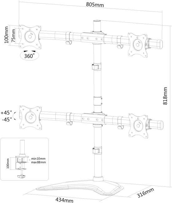 NewStar NM-D335D4BLACK Bureausteun