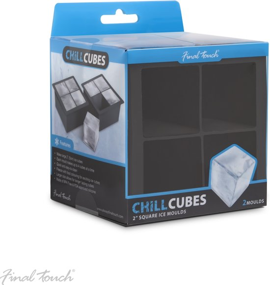 Final Touch Chill blokjes 2 Inch Square Ice Cube Mallen