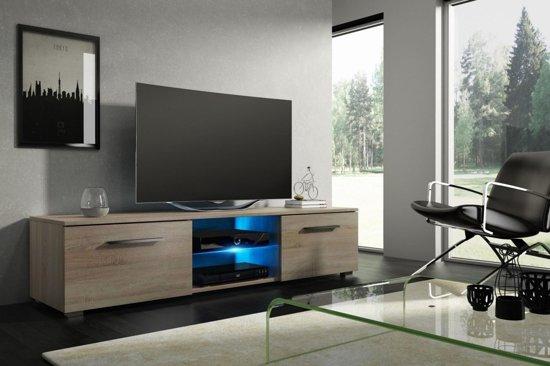 Tv Kast Hout Donker Modern Design Inclusief Led Verlichting