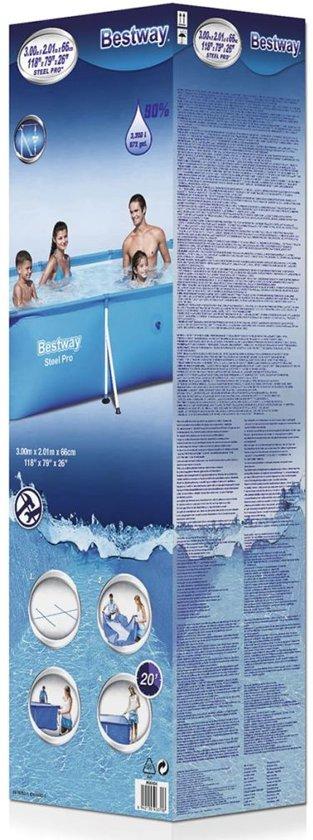 Zwembad rechthoek 300 x 201 x 66 cm met stalen frame 56404