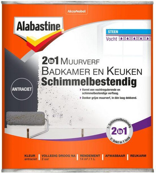 bol.com | Alabastine muurverf 2in1 badkamer en keuken ...