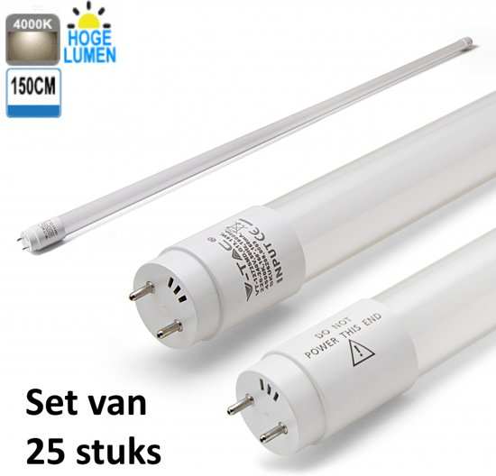 LED Buis High Lumen 150CM 4000K |Koel Wit | set van 25 stuks