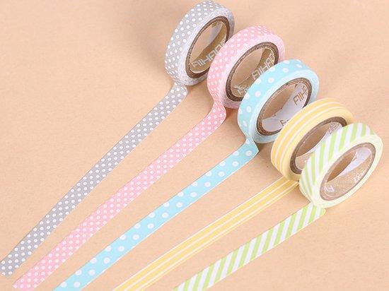 Washi tape 5 stuks - Diverse kleuren / prints