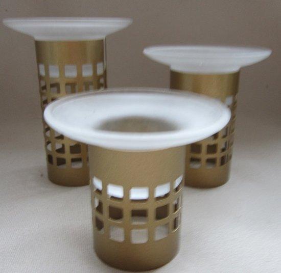 3 delige waxinehouder set, goud met matglas