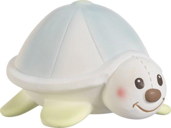 Margot de Schildpad, bijtspeeltje van 100% natuurlijk rubber, in wit/rood geschenkdoosje