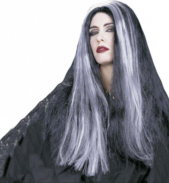 bol.com | Halloween Heksenpruik met lang grijs/zwart haar ...