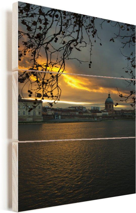 De oevers van de Garonne in Toulouse Vurenhout met planken 40x60 cm - Foto print op Hout (Wanddecoratie)