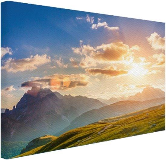Zonsondergang in de bergen Canvas 180x120 cm - Foto print op Canvas schilderij (Wanddecoratie woonkamer / slaapkamer) XXL / Groot formaat!