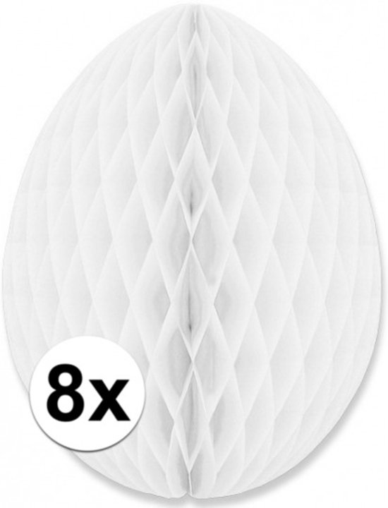 8 decoratie paaseieren wit 30 cm - Paasversiering / Paasdecoratie