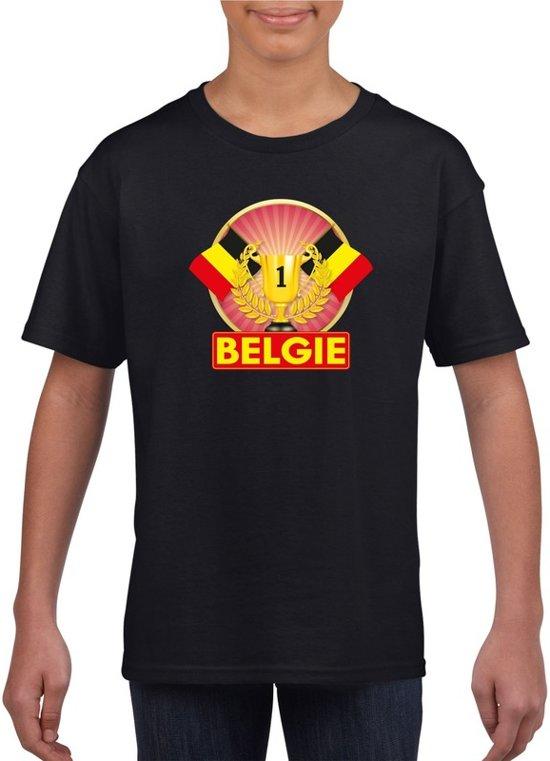 Zwart Belgisch kampioen t-shirt kinderen - Belgie supporter shirt jongens en meisjes M (134-140)
