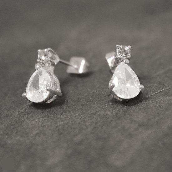 Luigi Vicaro Oorbellen Zilverkleurig Staal - Bergkristal
