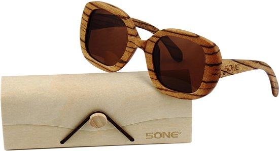 34073556e78453 5one® Cannes Brown - Zebrahout dames Zonnebril - bruin glas - UV400