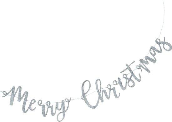 Merry Christmas slinger - zilver glitter (1 meter) Valentinaa