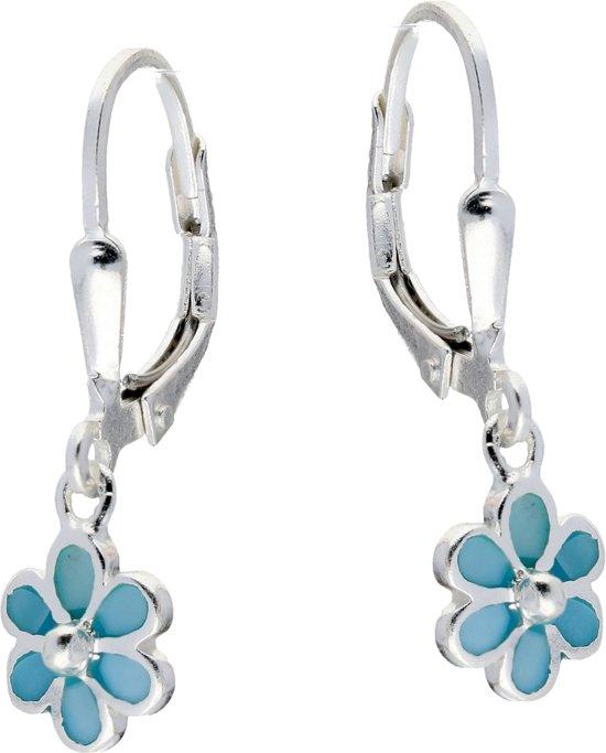 Lilly oorhangers bloem - zilver - blauw