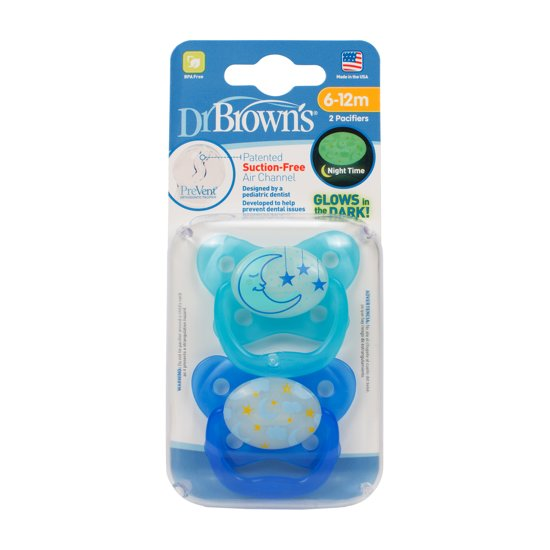 Dr.Brown's - Fopspeen blauw fase 2 glow in the dark (2 st.)