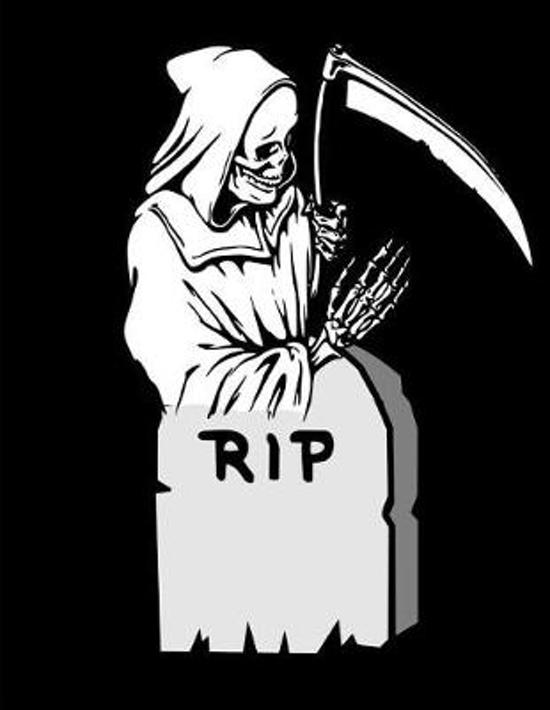 Grim Reaper Tombstone RIP Notebook Journal 120 College Ruled Pages 8.5 X 11