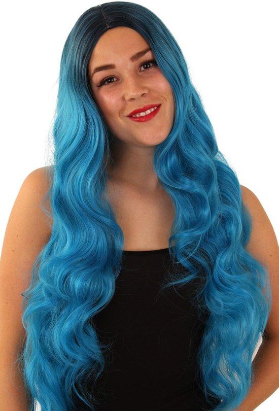 2x Pruik Faye turquoise wasbaar/ verstelbare kap