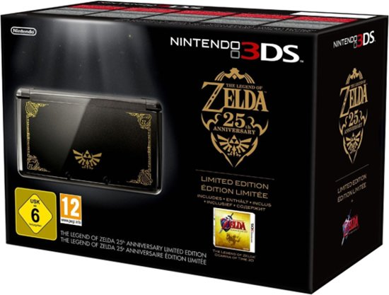 Nintendo 3DS Zwart + Goud + Legend of Zelda: Ocarina of Time kopen