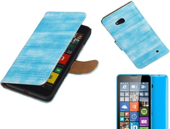 MP Case Lizard Bookstyle Hoes voor Microsoft Lumia 640 Turquoise in Boechout