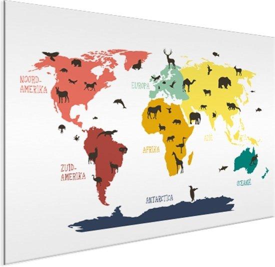 Wereldkaart dieren kleuren  Aluminium 60x40 cm