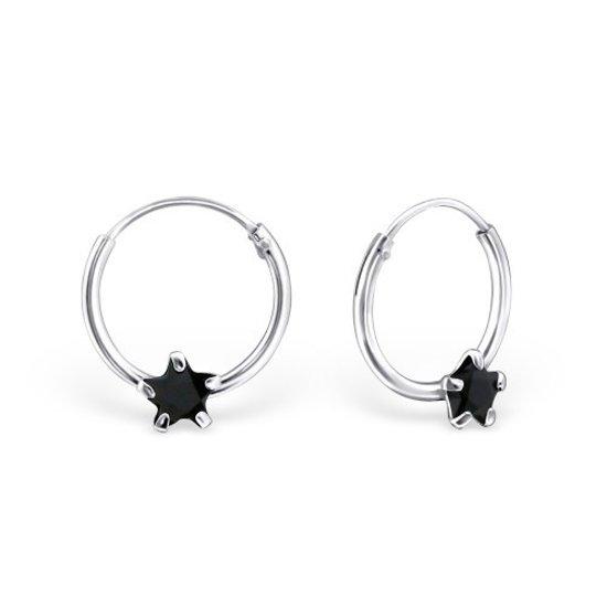 925 sterling zilveren kinderoorringen met zirkonia ster zwart