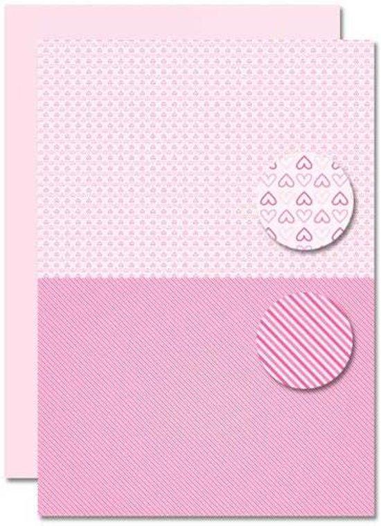 Decoupage Vel - Tweezijdig - Roze - Baby Meisje -Hartjes